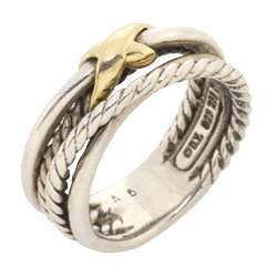 Braided Mixed Metal Gold and Silver Ring Jewelry